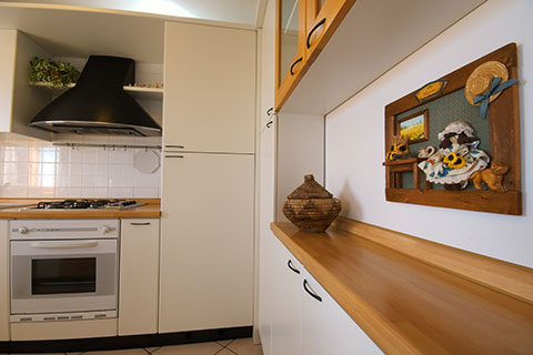 The details of the kitchen at the apartment